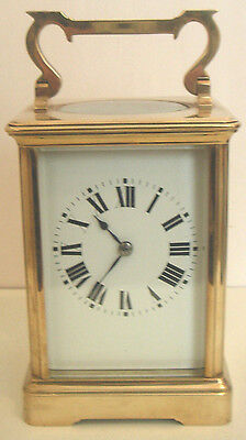 "French Large Brass Case Roman Numeral Timepiece Carriage Clock GWO 5.25""H 3.75""W"