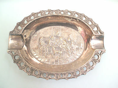 Continental Embossed White Metal/Silver Plated Ash Tray