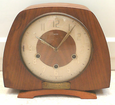 "Smiths Mahogany Case Westminster Chimes Floating Movement Mantle Clock 9""H 10""W"