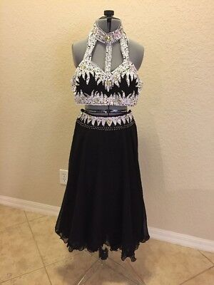 Black and white contemporary or lyrical two piece with long skirt, adult medium