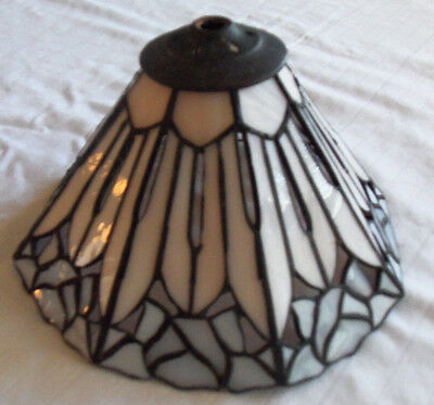 "Hand Made Stained Glass Lamp Shade 8 1/2"" Diameter X 5"" Tall Tulip Design 2012"
