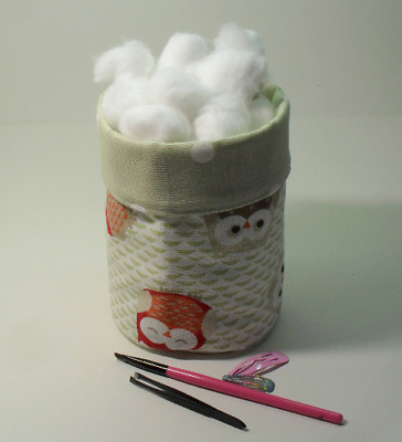 Small Fabric Storage Box Caddy or Bin, Heavy Duty Cotton, Cute Woodland Owls