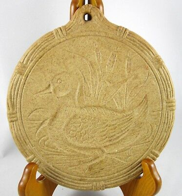 Stoneware Duck with Cattails Design Cookie Mold Trivet Wall Plaque Vintage