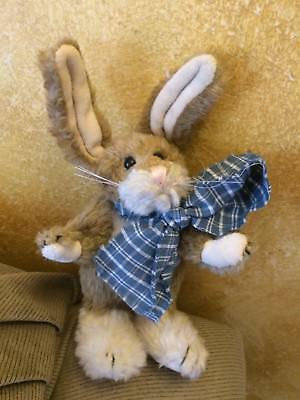 "Boyds Bears Small Plush Rabbit 7"" Easter Bunny Beige w/large plaid bow"