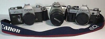 Lot 3 Cameras Vintage Canon Ftb 35 Mm Ae1 35 Mm Eos Rebel 2000 35 Mm