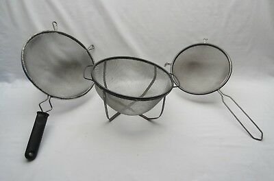 3 vintage old metal wire kitchen sieves seives strainers for display