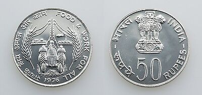 """Indien: 50 Rupees / Rupien 1976 - Silber - F.A.O. - """"Food & Work for all"""""""