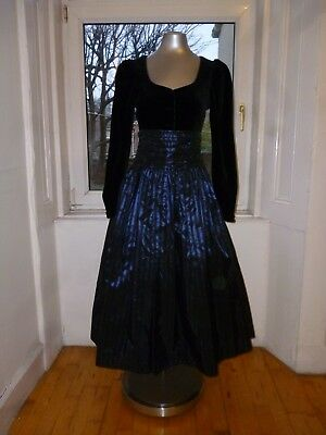 Beautiful Original Vintage 1980s Laura Ashley Cocktail Party Evening Dress 8/10