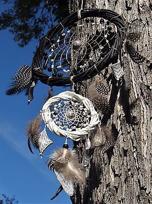 Exclusive Handcrafted Black White Grey Dream Catcher Decoration Gift Feather