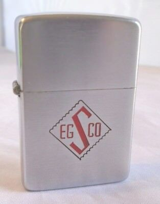 Vintage 1950 Zippo Lighter Advertising EGS Co Very Nice 2032695 Nickel Insert