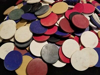 Lot of 270 Antique Vintage Poker Chips Clay Bakelite Paper Red White Blue Smooth