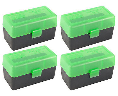 NEW MTM 50 Round Flip-Top .22-250/7.62 X 39 Rifle Ammo Box - GreenBlack (4 Pack)