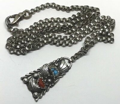 "OLD NAVAJO STERLING & TURQUOISE CORAL BLOSSOM PENDANT NECKLACE (24""/26.7g)"