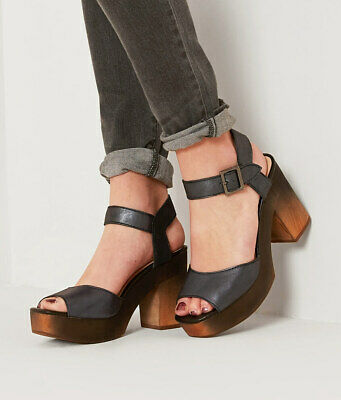 Kelsi Dagger Brooklyn Front Black Leather Retro Wood Heel Platform Dress Sandal
