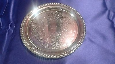 Vintage Leonard Silver Plated Ornate Floral Serving Tray Plate Platter Italy