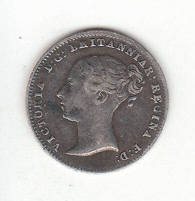 1840 Great Britain Queen Victoria Silver Threepence. Nice Grade. Scarce.