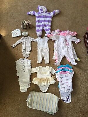 Lot Of Baby Clothes For Girl Newborn & 0-3 Months Lightly Used/ New