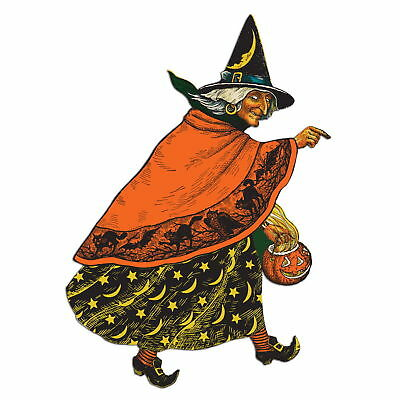 Vintage Beistle Repro Halloween CLASSIC WITCH CUTOUT Die Cut Party DECORATION