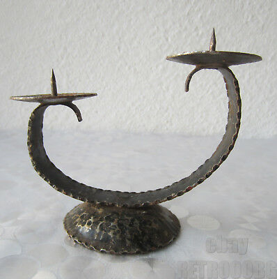 Antique primitive WROUGHT IRON double Candle Stand / candlestick,old, shabby