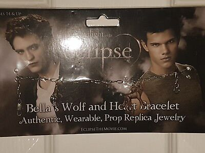 2 twilight bell's Wolf and Heart Bracelets