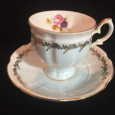 Crown Staffordshire Fine Bone China Footed Tea Cup & Saucer Set Floral England