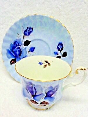 Royal Albert  Blue Wash Roses  Cup  and Saucer