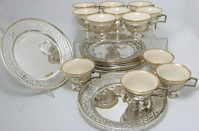 "Sterling Silver Luncheon Plates and Cups Retailer Bailey Banks and Biddle 8""w"