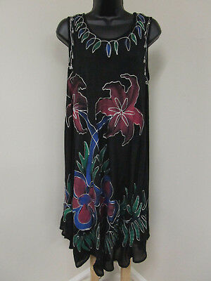 Plus Size 1X 2X 3X Cover-up DRESS Tunic Top BATIK Cruise BOHO Beach PAINTED  NWT