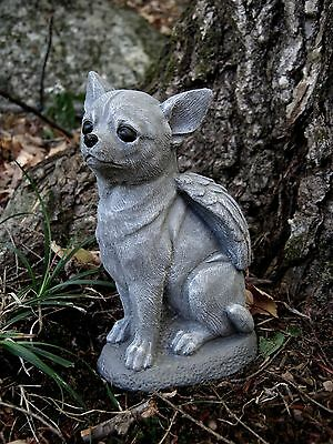 Chihuahua Dog Angel, Gray Concrete Garden Statue, Cement Pet Memorial, Marker