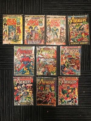 Lot of 10 Vintage 1970s AVENGERS Marvel Comic Books