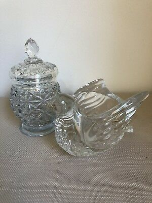 Vintage AVON Cut Glass Jar With Lid & Glass Bird Candle Holder