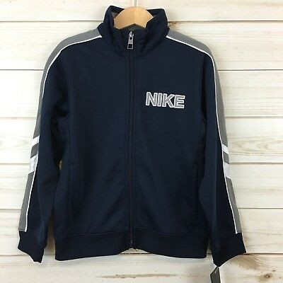 NEW Nike Boys Navy Blue Full Zip Spell Out Track Jacket.  Size 6.