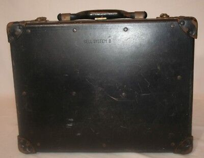 Vintage Bell System B Distressed Black Repair Men's Tool Box Hard Shell Case