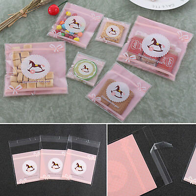 100pcs/set 2 Sizes Self-adhesive Plastic Packaging Wedding Party Candy Gift Bags