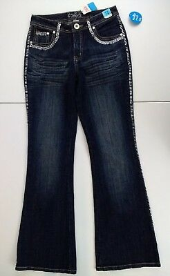 Justice Girls Distressed Denim Blue Jeans With Tuxedo Bling Size 12