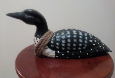Solid Wood - Hand Painted Duck With Nautical Rope