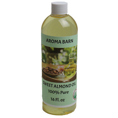 SWEET ALMOND OIL (16 oz) ORGANIC CARRIER COLD PRESSED REFINED 100% PURE 16 OZ