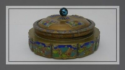 Antique Chinese Tea Caddy Box Repousse Bronze Enameled Relief