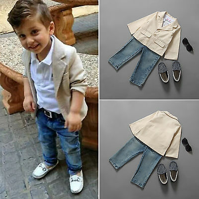 Toddler Kid Boys Outfits Blazer Suit Coat+Shirt+Jeans Denim Pants 3PCS Clothes K