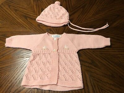 Vintage Pink Baby Sweater 18 Mths Matching Hat 60's 70's Baby Chick's
