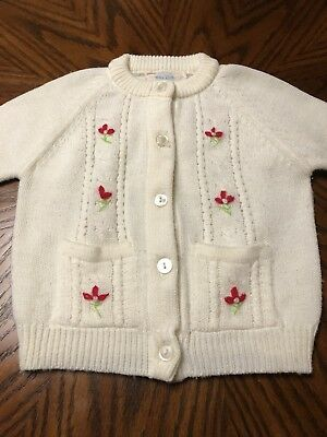 Vintage Toddler 4T Sweater white with Red roses. 60's 70's