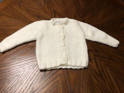 Vintage Toddler 6-12 Months Sweater Ivory with Duck buttons 60's 70's