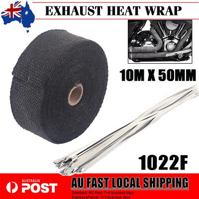 Exhaust Heat 10M X 50Mm Wrap + 10 Stainless Steel Ties Manifold Insulation Blk