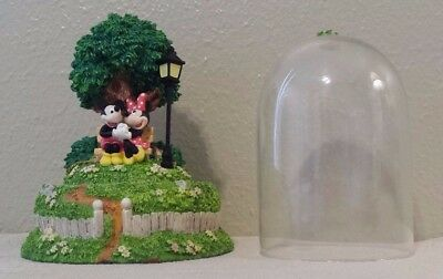 """DISNEY Mickey And Minnie Mouse On Park Bench Jar Figurine 5 3/4"""" Tall"""