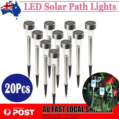 20X Stainless Steel LED Solar Garden Buried Landscape Path Lawn Lights Yard Lamp