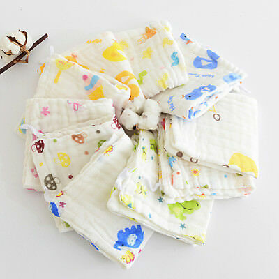 6 Pcs Layer Baby Bibs Cotton Soft Saliva Handkerchief Toddler Feeding Burp Towel