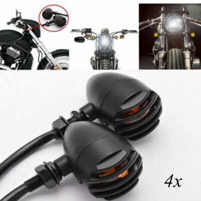4x  Black Grill Bullet Amber Bulb Motorcycle Turn Signal Light for Harley AAA