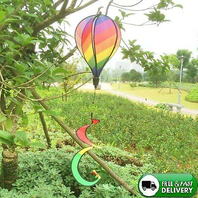 Striped Rainbow Windsock Hot Air Balloon Wind Spinner Multi Colored Garden Decor