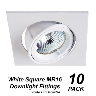 10 Pack x White SQUARE Gimble Downlight Fittings 12V MR16 Gimbal