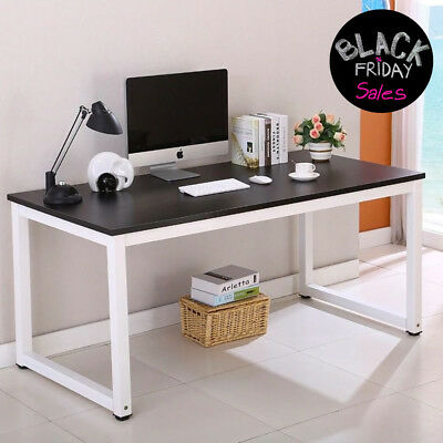 Black Wood Computer Desk PC Laptop Table Workstation Home Office Furniture